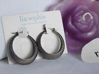 Beautiful Lia Sophia chic Black Hoop Earrings, 1-1/4 Hoop,