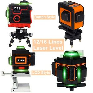 12//16 Line Laser Level 360° 3D Green Laser Tool Auto Self-Leveling Cross Measure