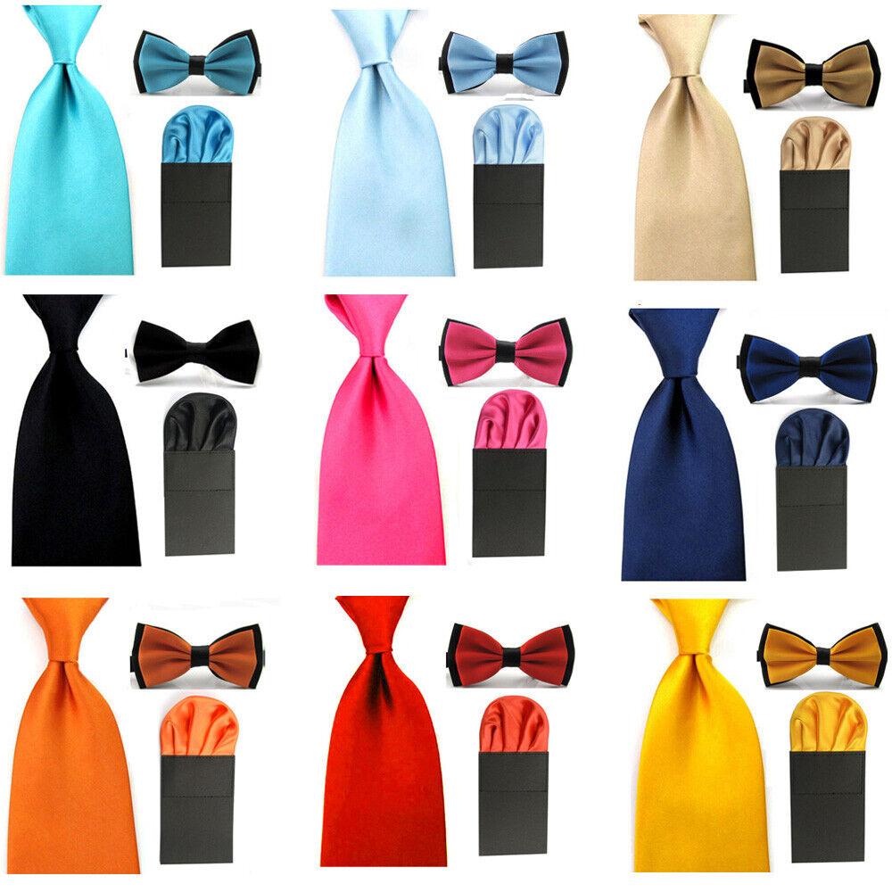 Herren Satin Doppelte Farbe Breit 8cm Krawatten Mit Taschentuch Set