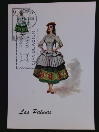 SPAIN MK 1968 COSTUMES LAS PALMAS TRACHTEN MAXIMUMKARTE MAXIMUM CARD MC CM c5992