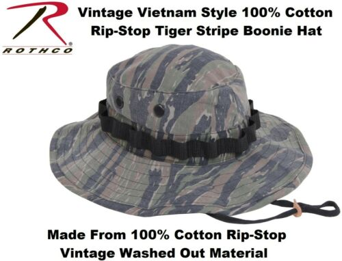 Tiger Stripe Washed Vintage Military Vietnam Tactical Rip-Stop Boonie Hat 5915