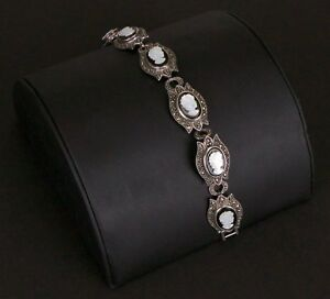 Sterling-Silver-Onyx-Marcasite-Mother-of-Pearl-Cameo-Bracelet-7-inches