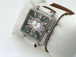 Nemesis-Women-Watch-Wide-White-Genuine-Leather-Band-Analog-Watch-Made-in-USA