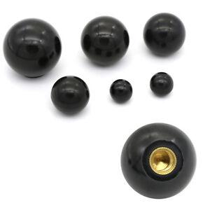 Black-plastic-M4-M5-M6-M8-M10-M12-thread-ball-shaped-head-clamping-nuts-knob-FJ