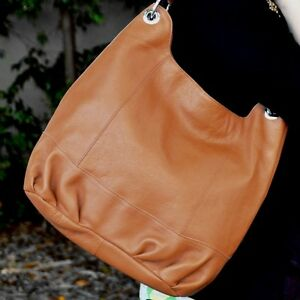 Women-039-s-Genuine-Leather-Bucket-Shoulder-Bag-Red-or-Tan