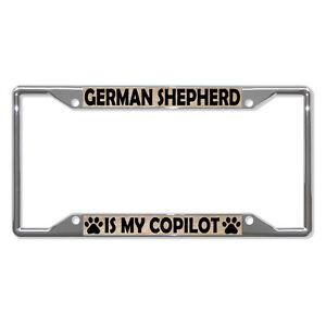 GERMAN-SHEPHERD-DOGS-Metal-License-Plate-Frame-Tag-Holder-Four-Holes