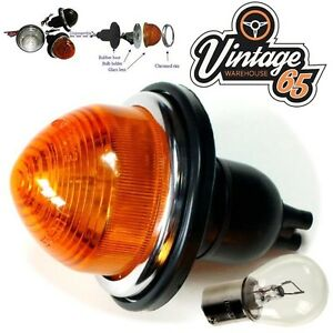 Classic-Car-Hotrod-Genuine-Lucas-Early-Style-Glass-Lens-Indicator-Light-12v-Bulb