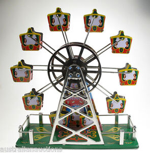 Over-The-Rainbow-Musical-Ferris-Wheel-Wind-Up-Tin-Toy-Tin-Plate-Toy