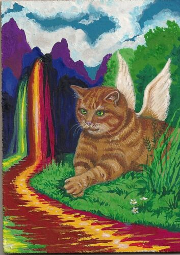PRINT OF ACEO PAINTING RYTA RAINBOW RED TABBY CAT ANGEL FOLK ART BENGAL KITTY