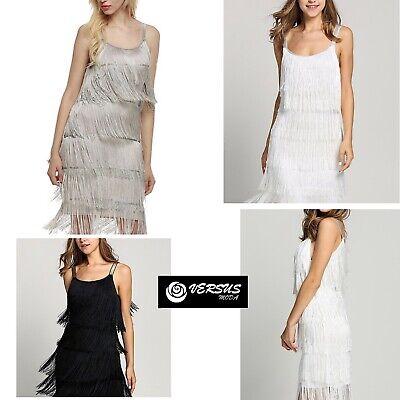 Efficiente Vestito Frange Spettacolo Charleston Ballo Danza Donna Frills Show Dress Charl14 Fabbricazione Abile