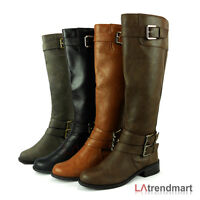 Hot Women Knee High Low Heel Tall Boots Zipper Shoes Soda Doric Black Tan Cognac