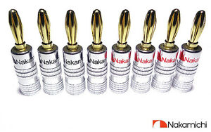 Quality-Nakamichi-Banana-Plugs-x8-HiFi-High-Quality-Gold-plated-Speaker-Plugs