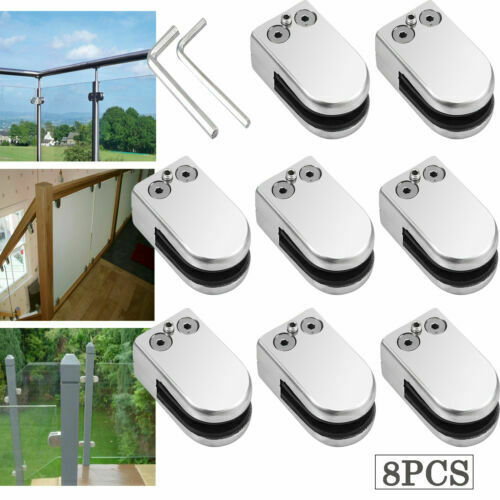 8X Stainless Steel Glass Clamps Clips for Balustrade Staircase Handrail 6-8mm