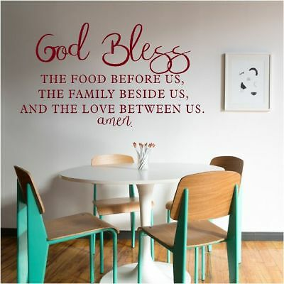 NEW God Bless The Food Family Our Love Vinyl Wall Art - Dining Room Home  Decor   eBay