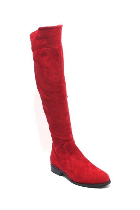Mally 2055a Rojo Cuero de gamuza Rodilla-Alto Cremallera botas botas botas De Montar 35 US 5  mejor calidad
