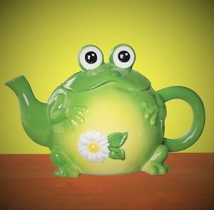 Image Is Loading Whimsical Toad Frog Shape Ceramic Teapot Hand Painted
