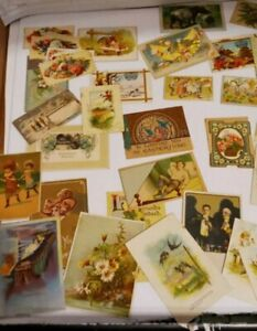 Antique Greeting Card, Ad Cards, and Vintage Postcard Lot Oldest 1890's 32 Total