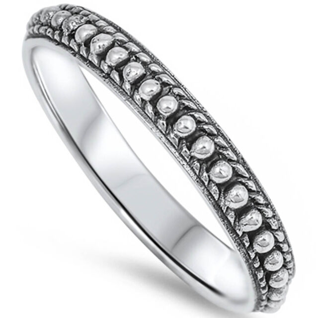 Solid Bali Style Band .925 Sterling Silver Ring Sizes 3-12