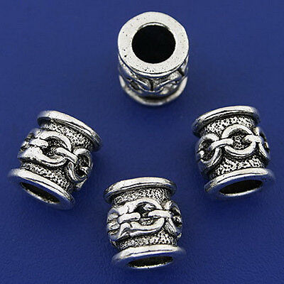 10pcs dark silver tone tube spacer beads h3244