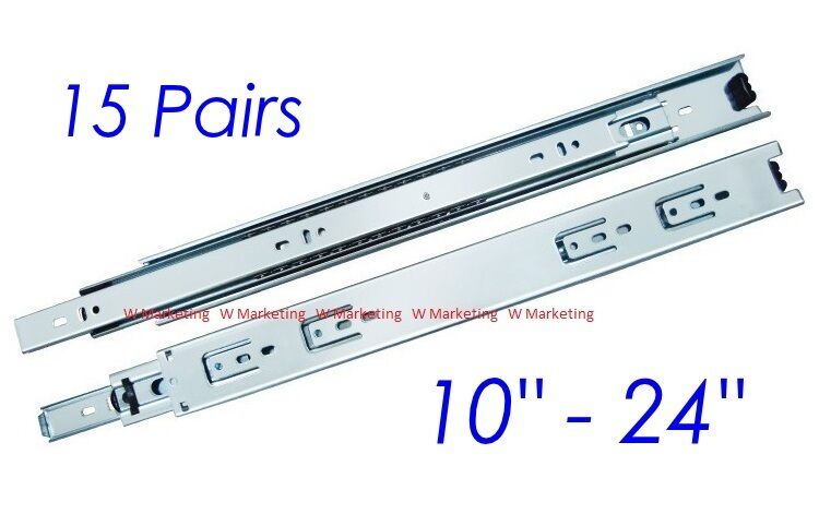 15 Pairs 10 -24  Full Extension 100-lb Ball Bearing Drawer Slides Slider SL02
