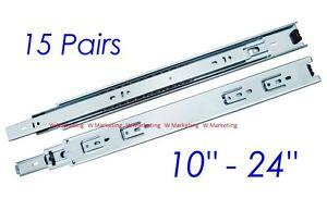 """15 Pairs 10/""""-24/"""" Full Extension 100-lb Ball Bearing Drawer Slides Slider SL02"""