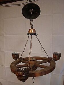 Vintage Nautical Boat Ship Wheel 3 Light Chandelier