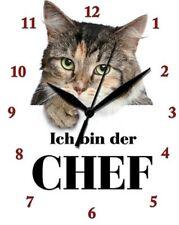 ICH BIN DER CHEF - KATZE - CAT - KATER  - Blechuhr Wanduhr Uhr Clock 89