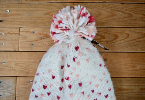 Warm Soft Fleece Lined White Pink Knitted Heart Ear Warmer Braided Snuggle Hat