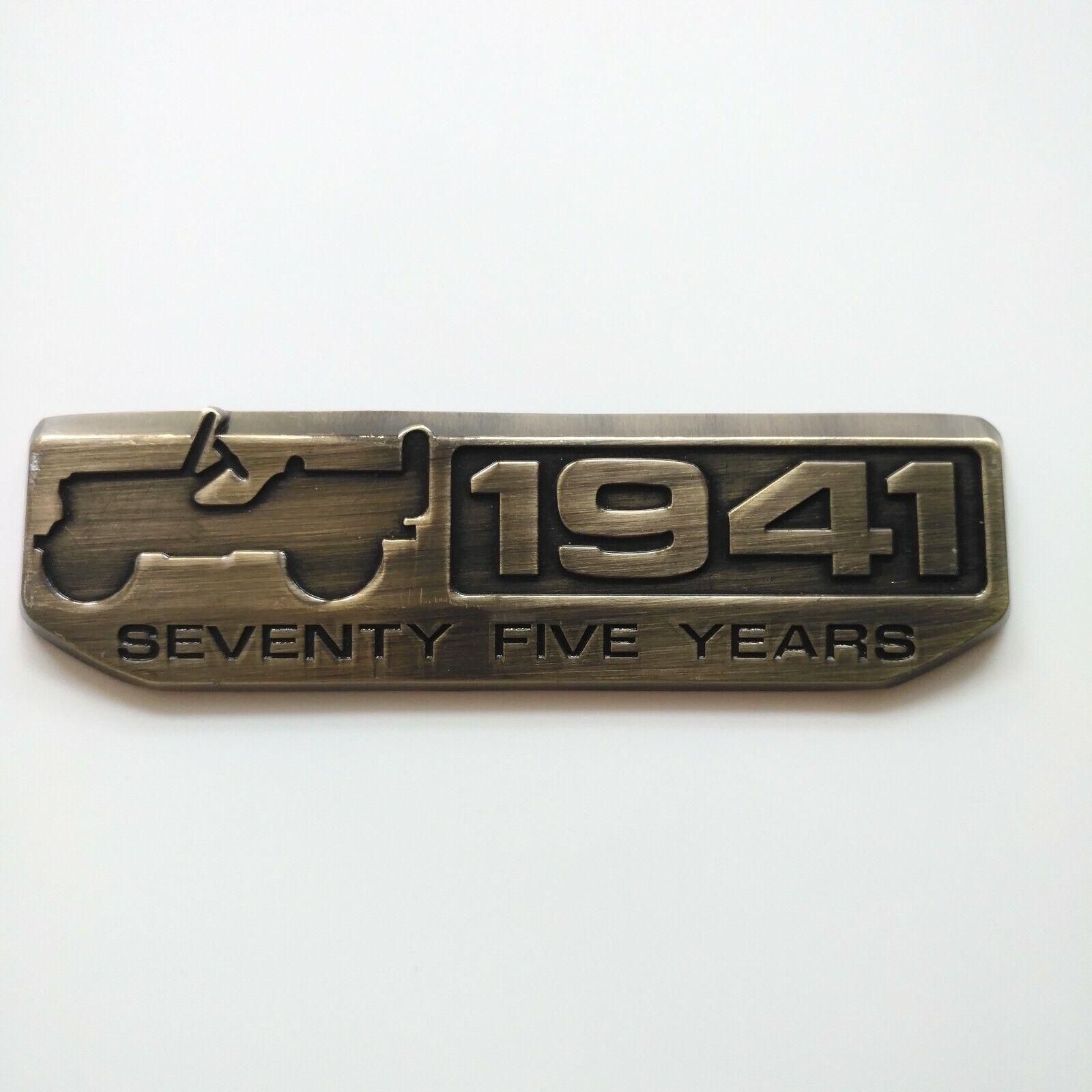 75th Anniversary 1941 Metal Car Emblem Badge for Jeep Wrangler Cherokee Willys