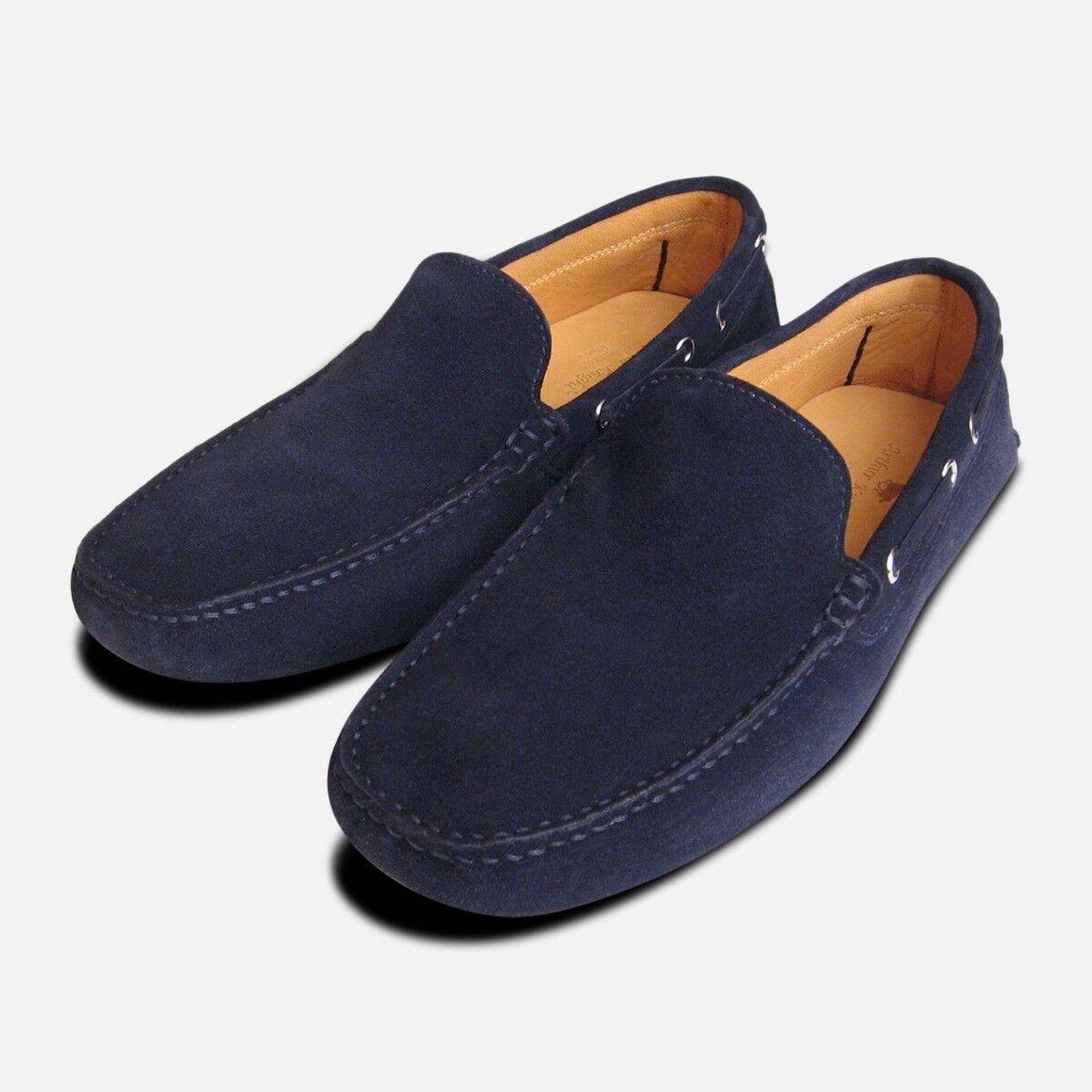 Marineblau Wildleder Italian Fahren Schuhe Mokassins