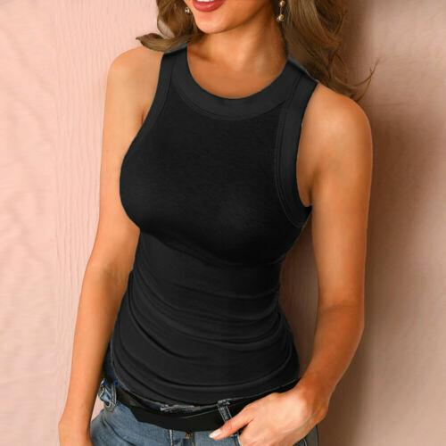 Womens Sleeveless Plain Vest Top Summer Slim Casual Fit Tank Tops T-Shirt Blouse