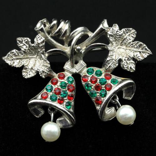 Vintage Silver Tone Rhinestone Christmas Bell Han… - image 1