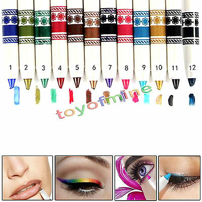 12 Pcs Cosmetic Makeup Glitter Eyeliner Eye / Lip Liner Eyebrow Pencil Pen Set