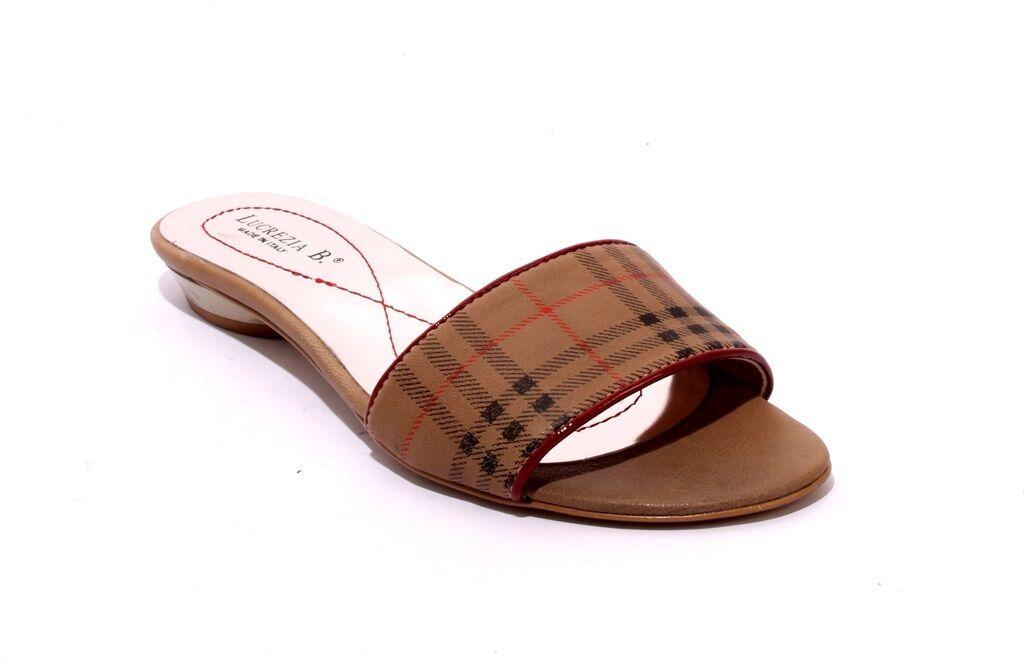 Lucrezia B. 700 Brown   Black   Red Leather Slides Sandals 38   US 8