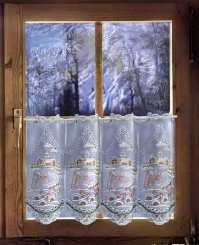 Scheibengardine Weihnachtsgardine Winterwald mit Reh Winteridylle Landhausstil