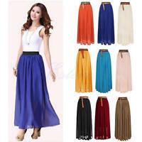 Chiffon Double Layer Pleated Women Long Maxi Dress Retro Elastic Waist Skirt