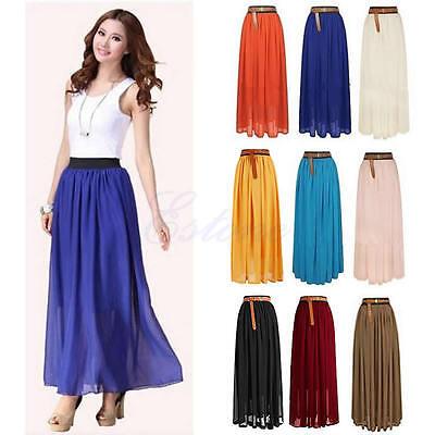 Women Retro Long Maxi Dress Chiffon Double Layer Pleated Elastic Waist Skirt