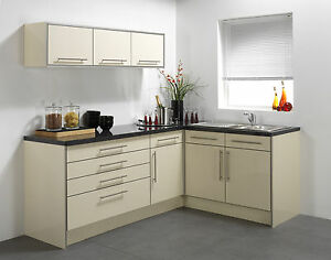 Cream High Gloss Vinyl Kitchen Cabinet Doors Ebay