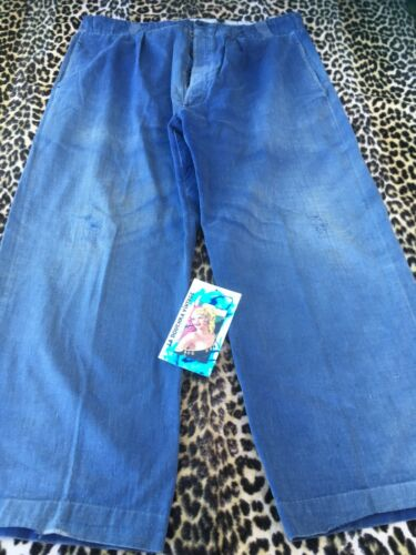 FRENCH 1930s WORKWEAR CHORE RAILROAD PANTS~ BLUE D