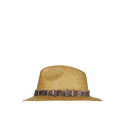 Topshop Feather Straw Fedora Hat - Natural Brown - One Size - RRP £25 - New