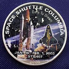 2003 Space Shuttle Columbia Walking Eagle 1 oz .999 Silver Art Round