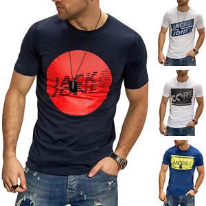 Jack-amp-Jones-T-Shirt-Hommes-Print-Shirt-manches-courtes-Shirt-Casual-Streetwear-Top