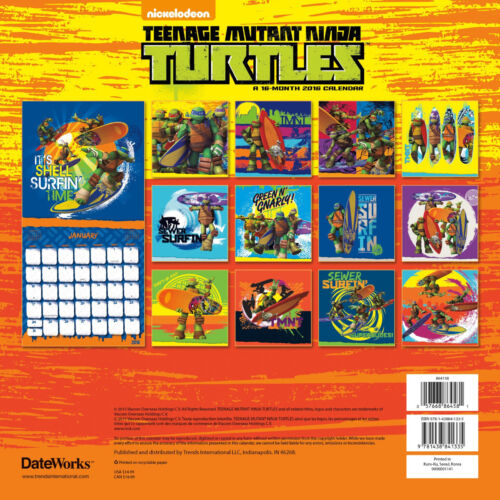 Teenage Mutant Ninja Turtles Comic Art 16 Month 2016 Wall Calendar NEW SEALED