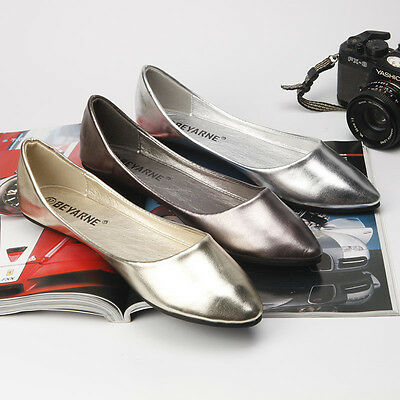 Womens Flats Shoes Leather Slip On Ballet Fashion Casual Loafers Single Shoes