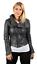 Removable Grey Retro Leather 100 Jacket Croc Biker Collar Damekort twaqfF