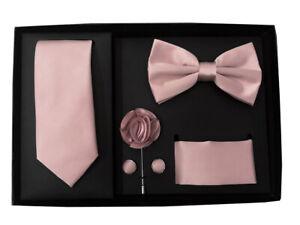 New Men's necktie bowtie hankie cufflinks lapel pin 5 pc Gift Mauve Dusty Pink