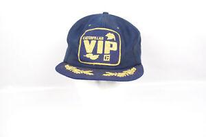 Vintage Caterpillar VIP Scrambled Egg Patch Snapback Adjustable Blue Hat Adult