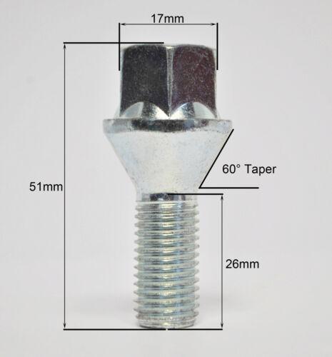 4 X M12 X 1.25 Zinc hilo de 26mm Pernos de rueda cónica