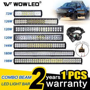 Wow led work light bar 12v 24v flood spot combo beam offroad lamp image is loading wow led work light bar 12v 24v flood mozeypictures Gallery