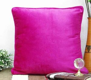 Indian Pink Velvet Pillow Cover Solid Square Bed Sofa Cushion Cover 16 X 16